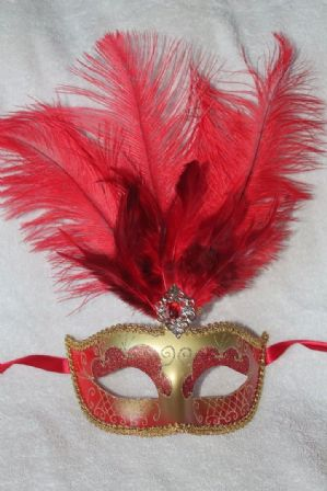 Red and Gold Masquerade Mask - Feather Mask | Masks and Tiaras